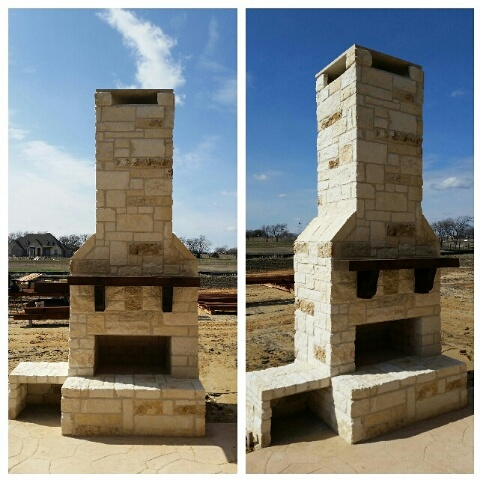 Awesome outdoor fireplace finished in Justin, TX